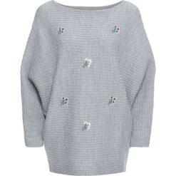 Swetry oversize damskie: Sweter z kwiatowym haftem bonprix szary melanż