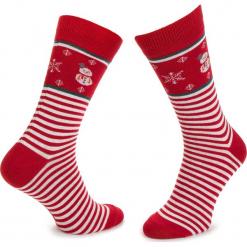 Skarpety Wysokie Męskie DOTS SOCKS - DTS-SX-104-X Biały Czerwony. Białe skarpetki męskie Dots Socks, z bawełny. Za 19,90 zł.