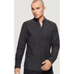 Bawełniana koszula SLIM FIT z mikrowzorem - Czarny. Czarne koszule męskie slim marki Reserved. Za 79,99 zł.