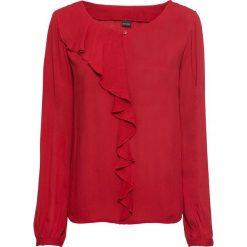 Bluzka z falbaną bonprix czerwony chili. Czerwone bluzki z odkrytymi ramionami marki bonprix, z okrągłym kołnierzem. Za 89,99 zł.