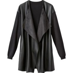 Swetry damskie: Narzutka z dwóch rodzajów materiału