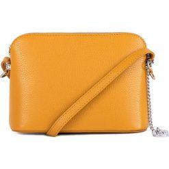 Torebki klasyczne damskie: Skórzana torebka w kolorze żółtym - 20 x 14 x 7 cm