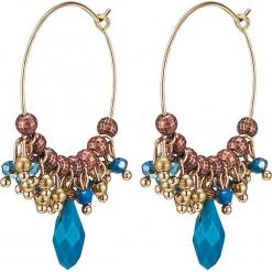 Pozłacane kolczyki-kreole z kryształkami. Żółte kolczyki damskie Stylowa biżuteria, z kryształem, pozłacane. W wyprzedaży za 43,95 zł.