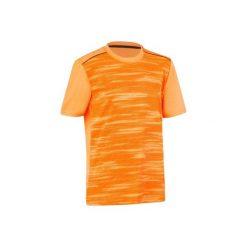 Koszulka Gym Energy. Szare bluzki dziewczęce z nadrukiem marki DOMYOS, z elastanu, z kapturem. W wyprzedaży za 16,99 zł.