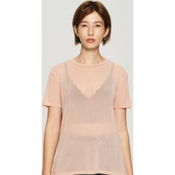 Transparentny t-shirt - Różowy. Czerwone t-shirty damskie marki Sinsay, l. Za 39,99 zł.