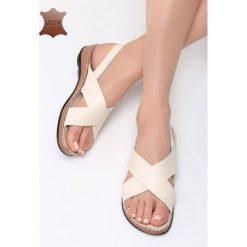 Beżowe Skórzane Sandały Sweet and Funny. Brązowe sandały damskie marki Born2be, z materiału, na obcasie. Za 99,99 zł.