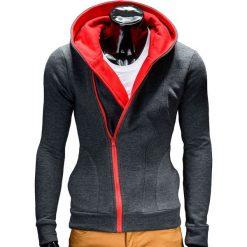 BLUZA MĘSKA ROZPINANA Z KAPTUREM PRIMO - GRAFITOWO/CZERWONA. Czerwone bluzy męskie rozpinane Ombre Clothing, m, z bawełny, z kapturem. Za 75,00 zł.