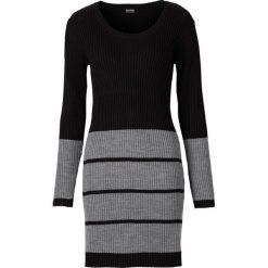Sukienki: Sukienka dzianinowa bonprix czarno-jasnoszary melanż