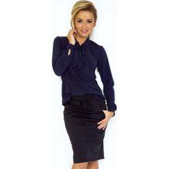 Granatowa Bluzka Elegancka z Wiązaną Szarfą. Niebieskie bluzki longsleeves Molly.pl, l, z jeansu, biznesowe. Za 109,90 zł.