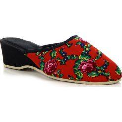 Buty ślubne damskie: Laczki damskie na koturnie domowe czerwone w kwiaty Eliza