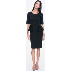 Sukienki: Czarna Sukienka Elegancka z Pół Baskinką