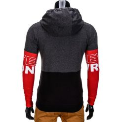 BLUZA MĘSKA ROZPINANA Z KAPTUREM B677 - GRAFITOWA. Czarne bluzy męskie rozpinane marki Ombre Clothing, m, z bawełny, z kapturem. Za 69,00 zł.