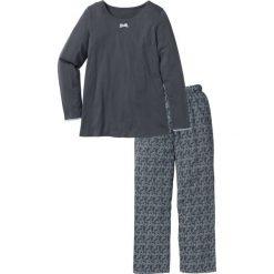 Piżamy damskie: Piżama bonprix szary łupkowy z nadrukiem