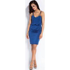 Niebieska Sukienka Midi na Cienkich Ramiączkach z Gumką w Talii. Niebieskie sukienki dzianinowe marki bonprix, z nadrukiem, na ramiączkach. Za 199,90 zł.