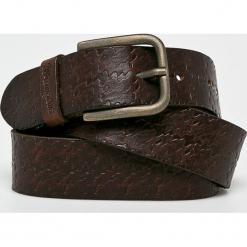 Wrangler - Pasek skórzany. Brązowe paski męskie Wrangler, w paski, z materiału. Za 149,90 zł.