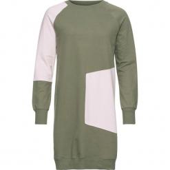 Sukienka shirtowa bonprix oliwkowo-pastelowy jasnoróżowy. Zielone sukienki pastelowe bonprix, z kontrastowym kołnierzykiem. Za 89,99 zł.