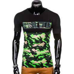 T-SHIRT MĘSKI Z NADRUKIEM S1008 - ZIELONY/MORO. Zielone t-shirty męskie z nadrukiem marki Ombre Clothing, na zimę, m, z bawełny, z kapturem. Za 35,00 zł.