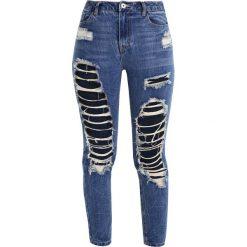 Missguided RIOT HIGH RISE OPEN SLIM LEG CROPPED  Jeans Skinny Fit blue. Niebieskie rurki damskie Missguided. W wyprzedaży za 146,30 zł.