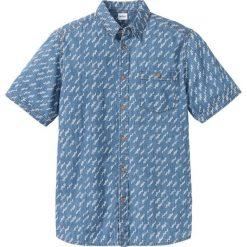 Koszula dżinsowa z nadrukiem Regular Fit bonprix niebieski. Białe koszule męskie marki bonprix, z klasycznym kołnierzykiem, z długim rękawem. Za 59,99 zł.