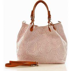 Shopper bag damskie: Skórzana torebka shopper MAZZINI - LINDA różowa