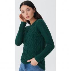 Sweter z warkoczami - Khaki. Brązowe swetry klasyczne damskie marki House, l. Za 79,99 zł.