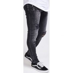 Jeansy męskie regular: SIKSILK RIOT Jeans Skinny Fit washed black