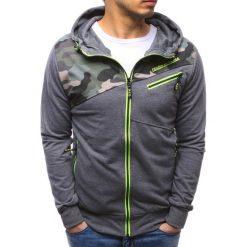 Bluzy męskie: Bluza męska rozpinana z kapturem antracytowa (bx3480)