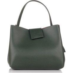 Torebki klasyczne damskie: Skórzana torebka w kolorze zielonym – (S)34 x (W)38 x (G)17 cm