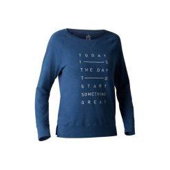 Koszulka długi rękaw Gym & Pilates 500 damska. Niebieskie bluzki sportowe damskie marki DOMYOS, l, z bawełny. W wyprzedaży za 29,99 zł.
