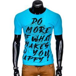 T-SHIRT MĘSKI Z NADRUKIEM S1002 - TURKUSOWY. Czarne t-shirty męskie z nadrukiem marki Ombre Clothing, m, z bawełny, z kapturem. Za 29,00 zł.