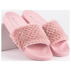 Chodaki damskie: Różowe klapki z futerkiem ERYNN różowe