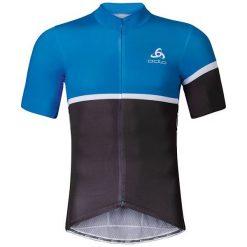 Odlo Koszulka męska Stand-up collar s/s full zip KAMIKAZE czarno-niebieska r. L (411162). Czarne koszulki sportowe męskie Odlo, l. Za 339,95 zł.