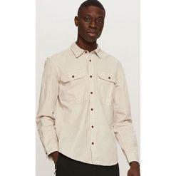 Koszule męskie na spinki: Twillowa koszula z kieszeniami – Beżowy