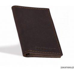 Portfele męskie: Skórzany męski ciemno brązowy cienki portfel