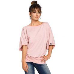 Bluzy damskie: Oversizowa Pudrowa Bluza ze Ściągaczem na Zakładkę