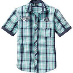 Koszula w kratę z krótkim rękawem bonprix zielony miętowy w kratę. Brązowe koszule męskie marki QUECHUA, m, z elastanu, z krótkim rękawem. Za 89,99 zł.