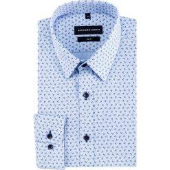 Koszula SIMONE slim KDNS000456. Niebieskie koszule męskie na spinki marki bonprix, m, z nadrukiem, z klasycznym kołnierzykiem, z długim rękawem. Za 169,00 zł.