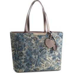 Torebka GUESS - HWDG66 93230  DEN. Niebieskie torebki klasyczne damskie Guess, z aplikacjami, z materiału, duże. Za 589,00 zł.