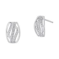Białe Złoto Kolczyki - złoto białe 585, Diament 0,01ct. Białe kolczyki damskie W.KRUK, z diamentem, złote. Za 999,00 zł.
