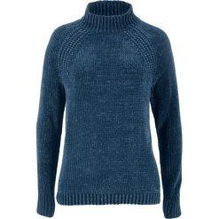 Swetry klasyczne damskie: Sweter z szenili bonprix ciemnoniebieski