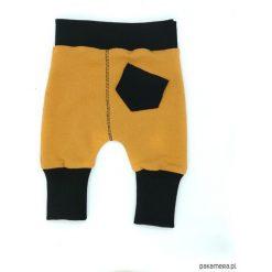 Spodnie musztardowe. Brązowe spodnie niemowlęce marki Pakamera, z dresówki. Za 60,00 zł.