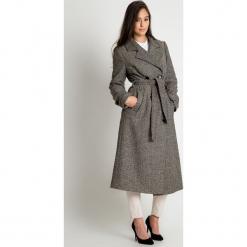 Beżowo-czarny płaszcz BIALCON. Brązowe płaszcze damskie pastelowe BIALCON, z wełny, eleganckie. Za 548,00 zł.