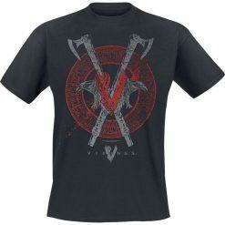 Vikings Axe & Raven T-Shirt czarny. Czarne t-shirty męskie z nadrukiem Vikings, xl, z okrągłym kołnierzem. Za 74,90 zł.