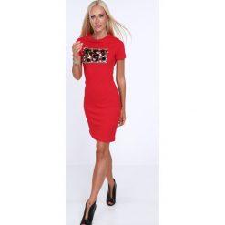 Sukienka z łuskami z krótkim rękawkiem czerwona 22476. Czerwone sukienki mini Fasardi, l, z krótkim rękawem. Za 59,00 zł.