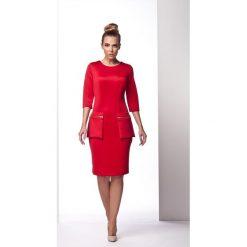 Czerwona Wizytowa Sukienka z Kieszeniami na Suwak. Czarne sukienki koktajlowe marki bonprix, do pracy, w paski, moda ciążowa. Za 84,90 zł.