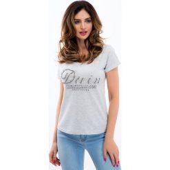 Beżowy t-shirt z koralikami 8208. Brązowe t-shirty damskie Fasardi, s. Za 19,00 zł.