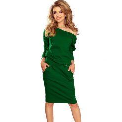 Zielona Codzienna Zbluzowana Sukienka z Dekoltem na Plecach. Szare sukienki balowe marki bonprix, melanż, z dresówki, z kapturem, z długim rękawem, maxi. Za 128,90 zł.