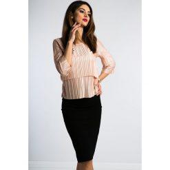 Różowe Złoto Plisowana Bluzka 1183. Czarne bluzki damskie marki Fasardi, m, z dresówki. Za 49,00 zł.