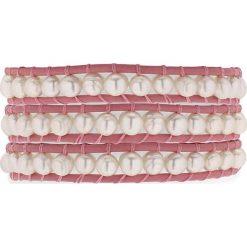 Bransoletki damskie: Skórzana bransoletka w kolorze jasnoróżowym z hodowlanymi perłami słodkowodnymi