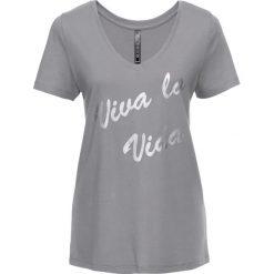 T-shirt bonprix szary - srebrny metaliczny z nadrukiem. Szare t-shirty damskie bonprix, z nadrukiem, z dekoltem w serek. Za 24,99 zł.